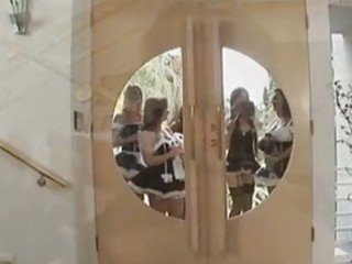 group of helpfull hot maids come to clean hard
