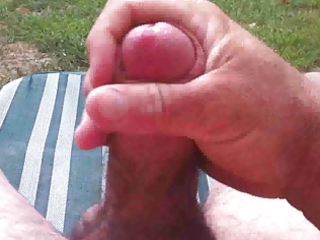 cumming in the back yard