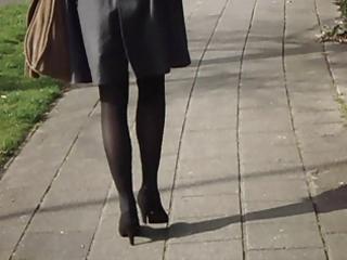 office lady hot legs walking