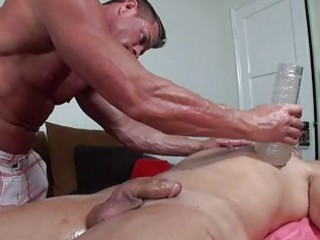 homosexual guys enjoying oiled massage and