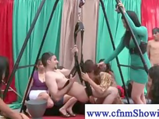 cfnm gal gives outdoor head on swing