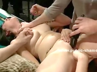 Sex slave with large breasts made to fuck in