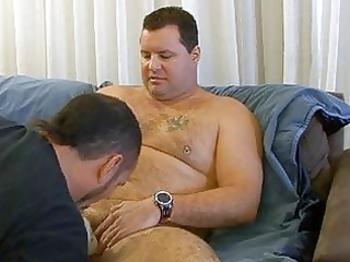 obese bear jerks off in shower