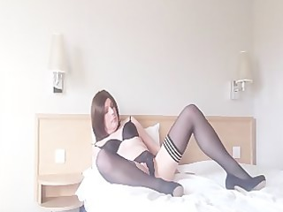 emma lee lady-boy in nylons fingers her booty