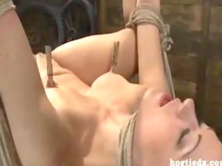 hogtied blond anal finger