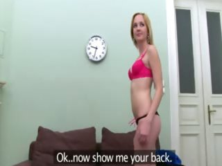 blonde copulating with agent on couch