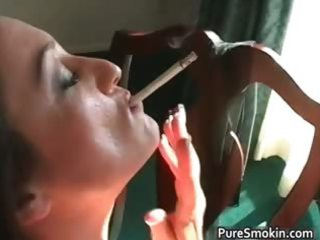 hawt dark brown michelle smokes cigarette part4