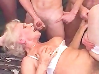 old granny norma gang group-fucked