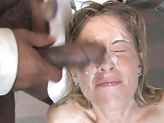 bukkake whores and ejaculation interracial porn