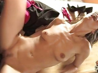 pale brunette hair with hairless cunt takes rock