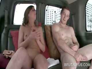 bus slut in glasses digs large boner in the sex
