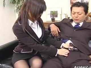 hot secretary satomi maeno sucks an unsightly