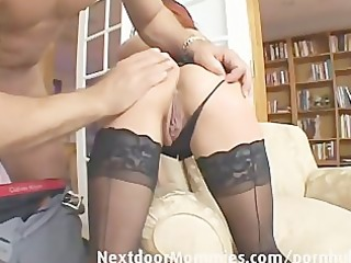 redhead mamma swallows cum from a large pounder