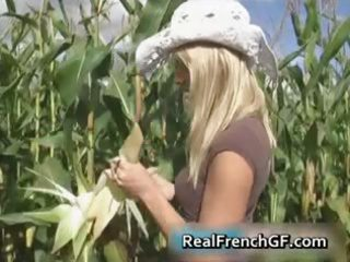 breasty teenage gf snatch team-fucked in corn