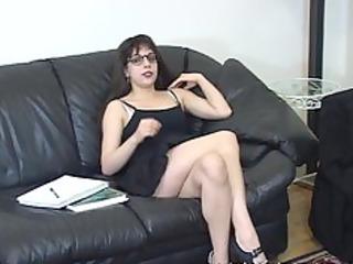 schoolgirl takes a break from her homework to