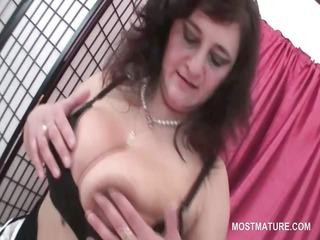 excited older teasing her milk sacks and fur pie