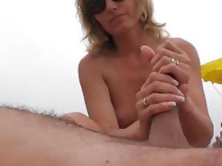 naomi1 footjob and tugjob on a beach