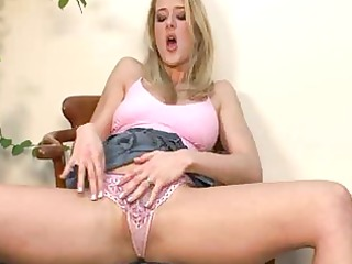 beautiful breasty blond in hawt pants plays solo