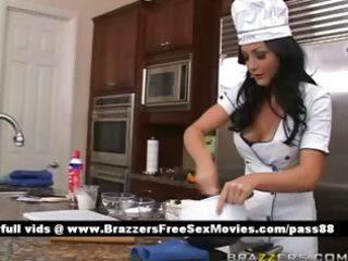 non-professional dark brown bitch in the kitchen