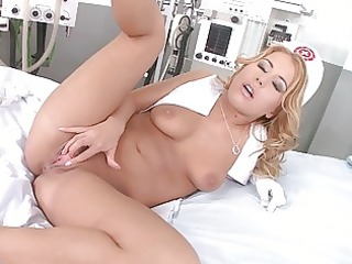 masturbating nurses in uniform playing with toys
