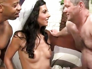 Slutty cuckold bride loves interracial