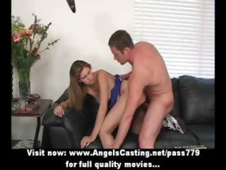 blond schoolgirl drilled from behind and getting