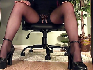 leggy secretary beneath desk masturbation