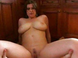 breasty dark brown rides large rod with hairless