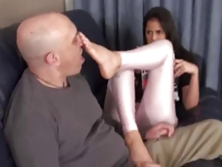 stepdaughter knows he is stands on feet