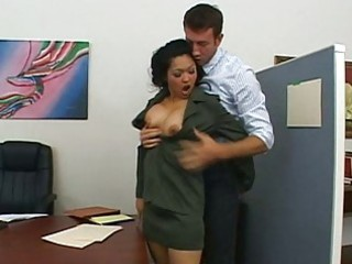 fascinating breasty brunette hair boss acquires