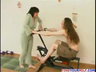 aged brunette hair russian wife eats wang and