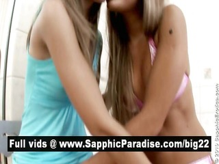 nasty lesbian babes giving a kiss and fingering