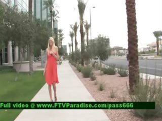inventive shy golden-haired public flashing
