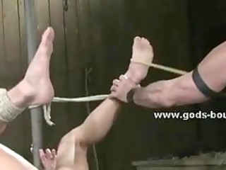 powerful rope holds immobilized a homo sex serf