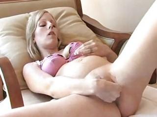 awesome preggy golden-haired masturbating
