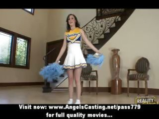 dark brown cheerleader flashing pants and doing