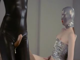 lustful dong lesbos in mask playing