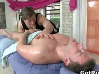 stud receives his gazoo oiled up and screwed