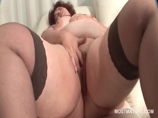 overweight aged in nylons teasing slit with