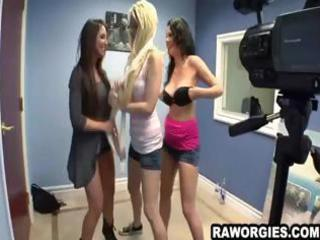chicks fooling around on tape dacing and