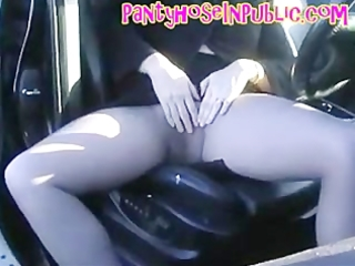 Pantyhose Wife In Her Car In Road Layby Fingering