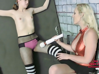 training her sub to fuck up femdom fishnets