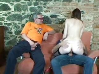 gal satisfies older lads