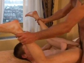 a twink acquires an booty licking from his dad