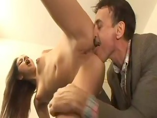 that is hottie catches him stroking, then joins