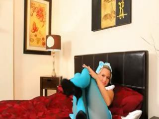 blue nylon hose and blond finger