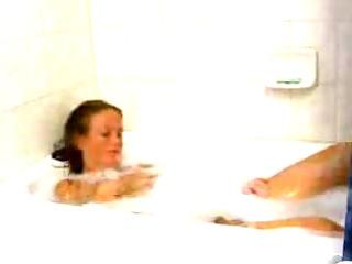 juvenile beauty disrobes in washroom