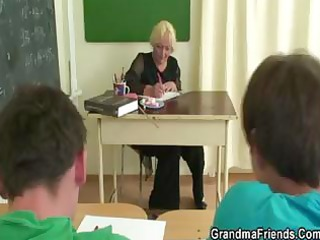 old golden-haired granny teacher acquires nailed