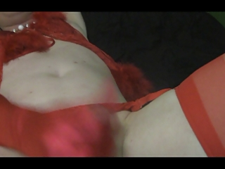 golden-haired n red satin cum