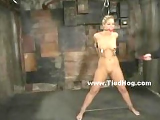 golden-haired held and fastened in ropes receives